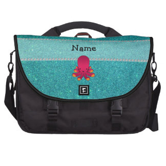Personalized name octopus turquoise glitter laptop bag