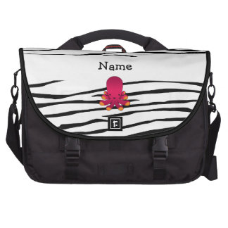 Personalized name octopus zebra stripes commuter bag
