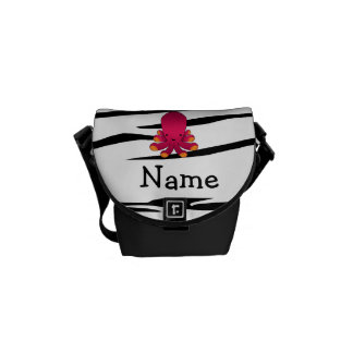 Personalized name octopus zebra stripes messenger bags