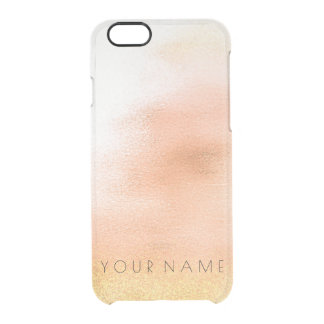 Personalized Name Ombre Golden White Peach iPhone Clear iPhone 6/6S Case