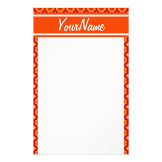 Personalized Name Orange Abstract Decorative Flora Custom Stationery