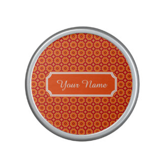 Personalized Name Orange Abstract Decorative Flora Speaker