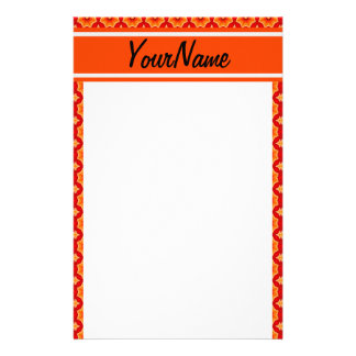 Personalized Name Orange Abstract Decorative Flora Personalized Stationery