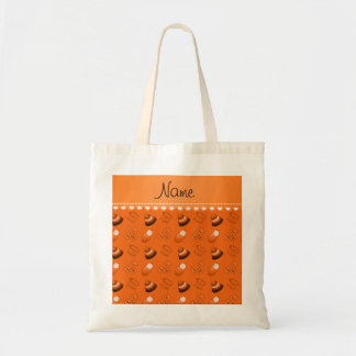 Personalized name orange baby blocks mobile toys budget tote bag