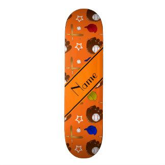Personalized name orange baseball glove hats balls skate board