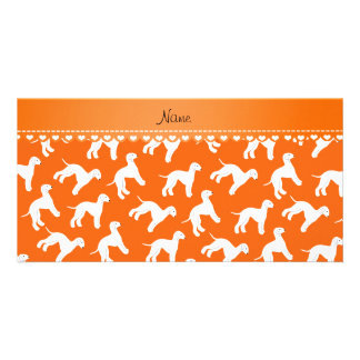 Personalized name orange bedlington terrier dogs picture card