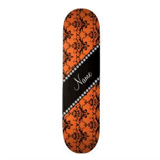 Personalized name orange black damask skate deck
