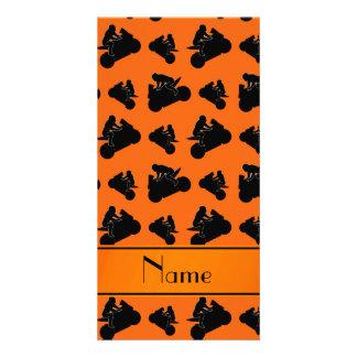 Personalized name orange black motorcycle racing custom photo card