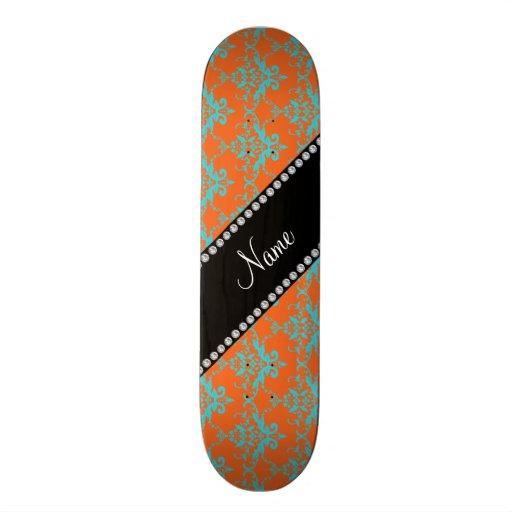 Personalized name Orange blue damask Custom Skate Board