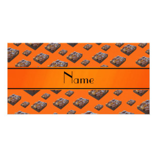 Personalized name orange brownies personalized photo card