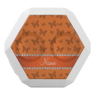 Personalized name orange butterflies white boombot rex bluetooth speaker