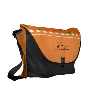 Personalized name orange carrots courier bag