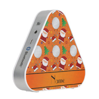 Personalized name orange christmas golfing speaker