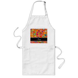 Personalized name orange colorful retro flowers apron