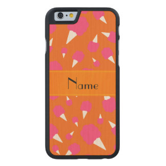 Personalized name orange cotton candy carved® maple iPhone 6 slim case