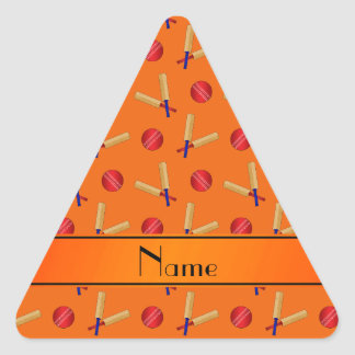 Personalized name orange cricket pattern triangle sticker