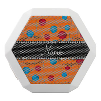 Personalized name orange crochet pattern white boombot rex bluetooth speaker