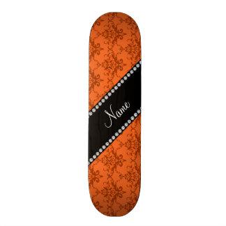 Personalized name Orange damask Skate Deck