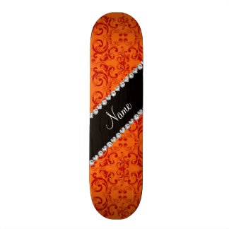 Personalized name orange damask swirls skate boards