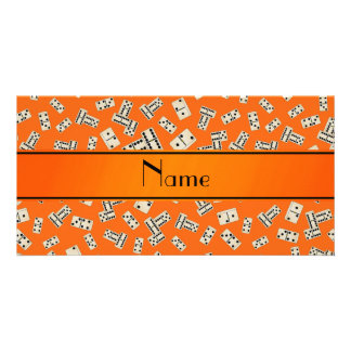 Personalized name orange dominos custom photo card