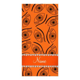 Personalized name orange eye pattern photo card