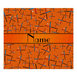 Personalized name orange field hockey pattern posters
