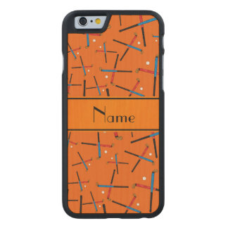 Personalized name orange field hockey carved® maple iPhone 6 case