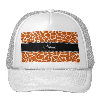 Personalized name orange giraffe pattern trucker hat