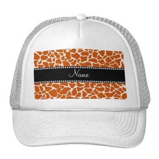 Personalized name orange giraffe pattern hat