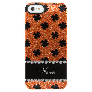 Personalized name orange glitter shamrocks clear iPhone SE/5/5s case