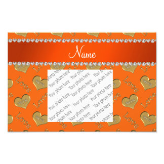 Personalized name orange gold hearts mom love photograph