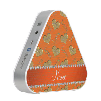Personalized name orange gold hearts mom love