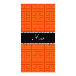 Personalized name orange greek key pattern customised photo card