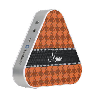 Personalized name orange houndstooth