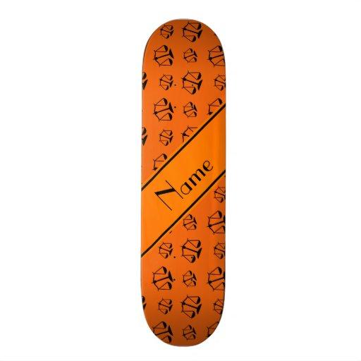 Personalized name orange justice scales skate board deck