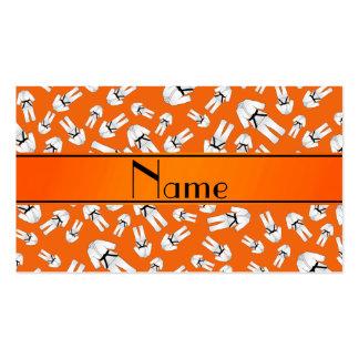 Personalized name orange karate pattern business card templates