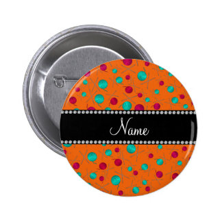 Personalized name orange knitting pattern buttons