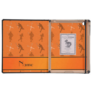 Personalized name orange lacrosse silhouettes cover for iPad