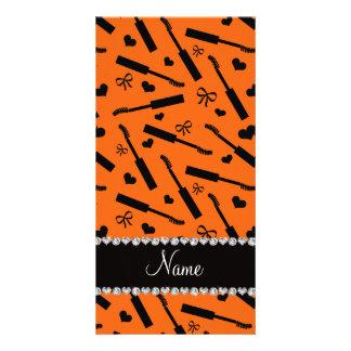 Personalized name orange mascara hearts bows photo cards