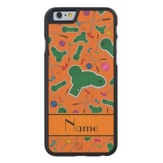 Personalized name orange mini golf carved® maple iPhone 6 case