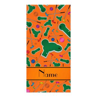 Personalized name orange mini golf picture card
