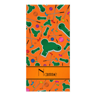 Personalized name orange mini golf photo cards