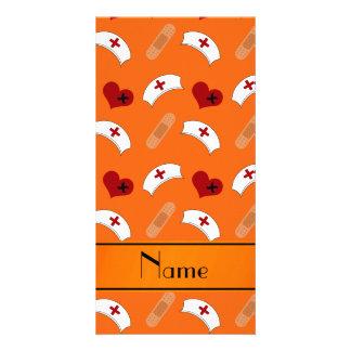 Personalized name orange nurse pattern customized photo card