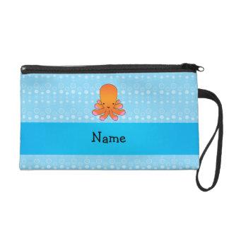 Personalized name orange octopus blue bubbles wristlet purse