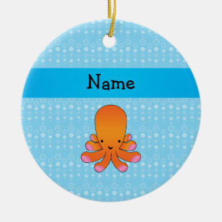 Personalized name orange octopus blue bubbles round ceramic decoration