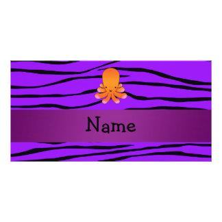 Personalized name orange octopus purple zebra photo card template