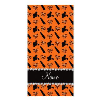 Personalized name orange perfume lipstick bows personalised photo card