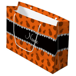 Personalized name orange pineapples large gift bag