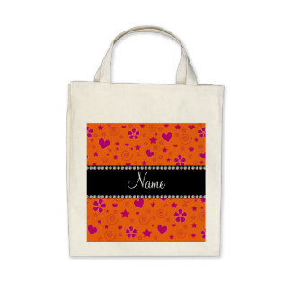 Personalized name Orange pink flowers hearts stars Bag