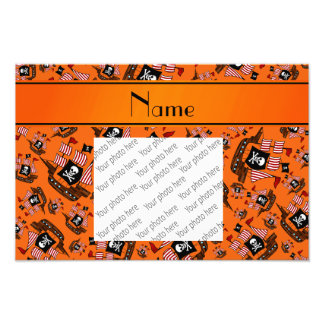 Personalized name orange pirate ships photo